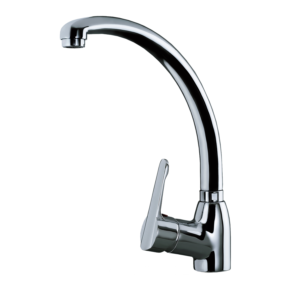 Single lever kitchen faucet with high and swivel spout