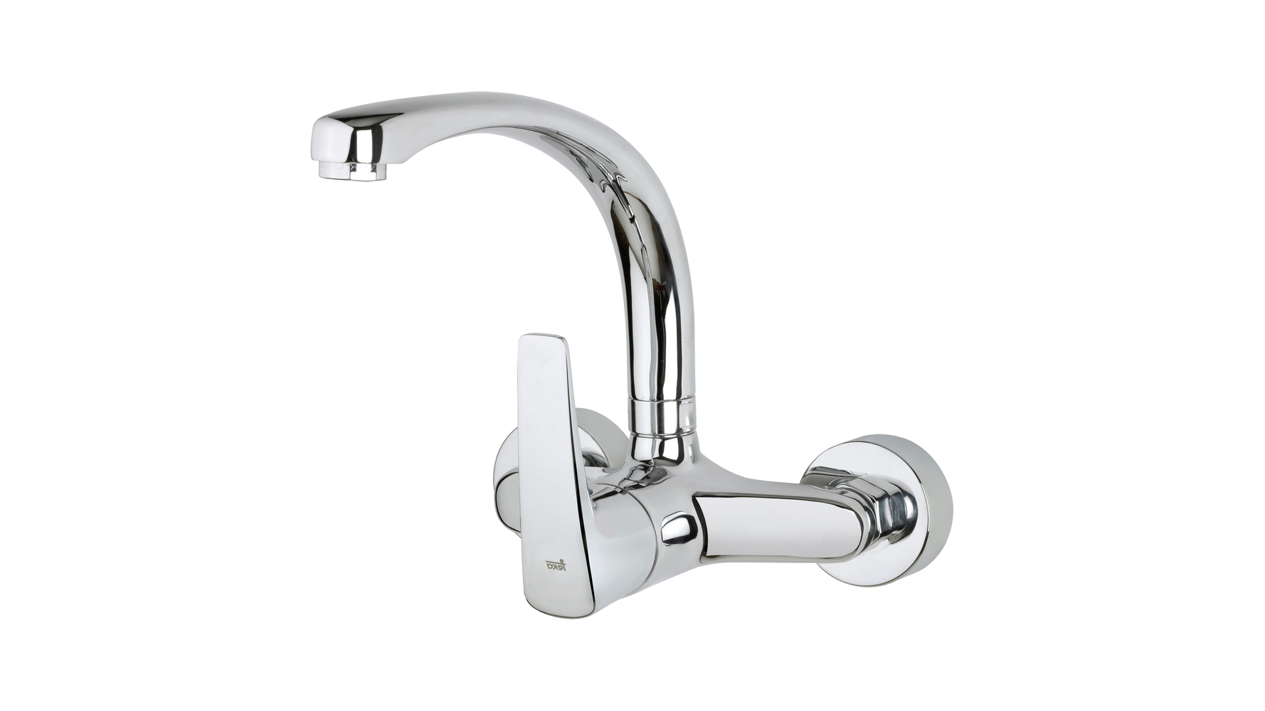 Wall-mounted single handle kitchen tap with cast swivel spout