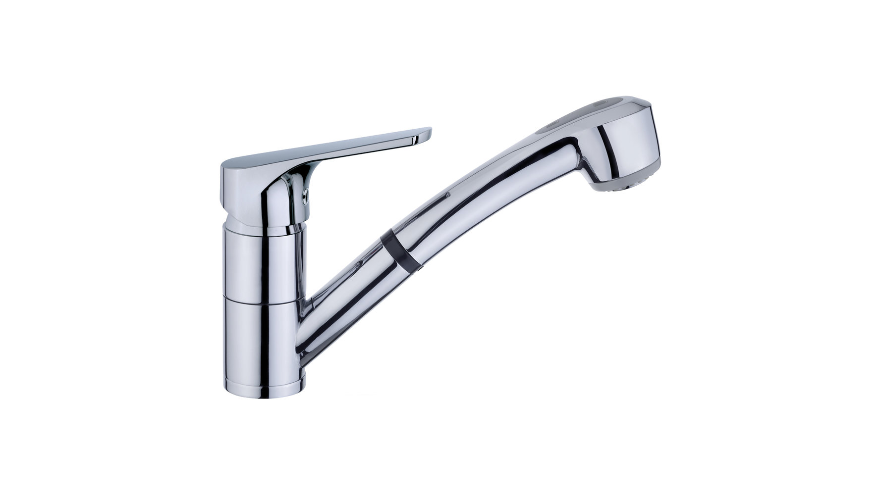 Kitchen faucet spout mixer under molten gitatorio and extractable handle 2 functions