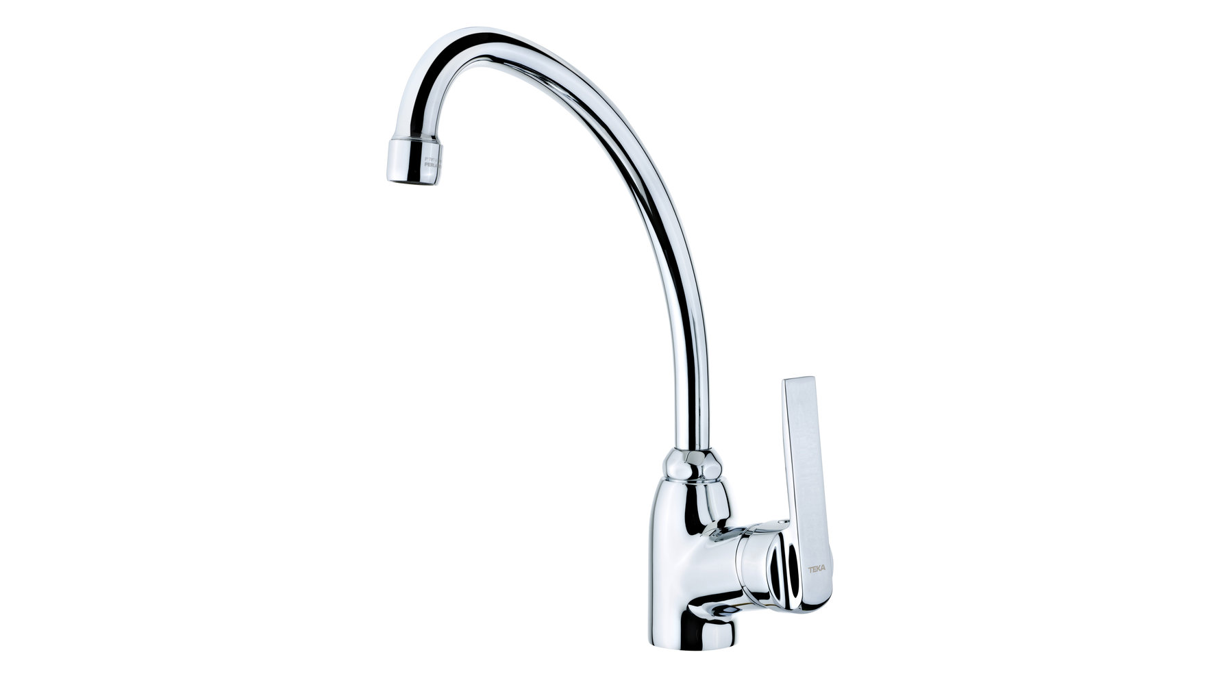 Single lever kitchen faucet with high spout and aerator anticalcáreo