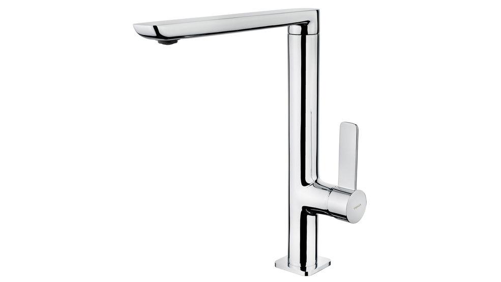 Single lever kitchen faucet with high swivel spout minimalist design