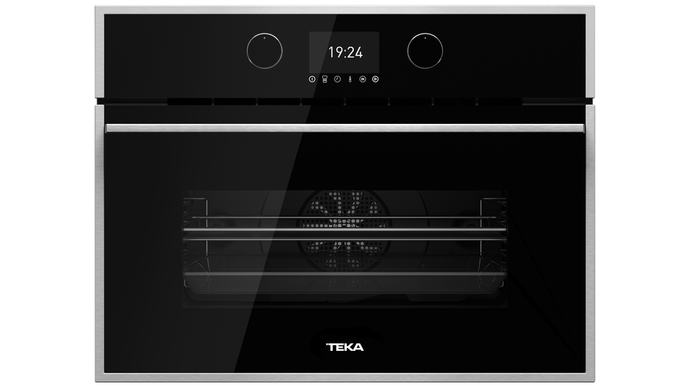 View 1 of Combi HLC 847 SC Black Glass with StainlessSteel frame by Teka
