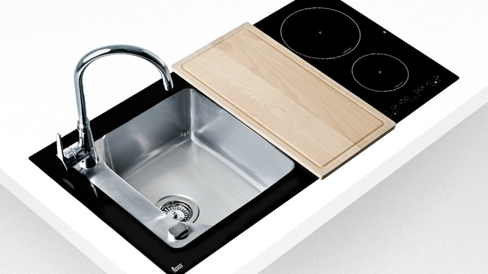 View 1 of sink Compact Lux 1B 1D 2I Black Glass by Teka