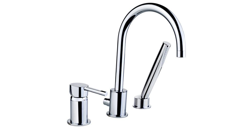 View 1 of bath tap ALAIOR XL THREE-HOLE DECK BATH/SHOWER MIXER Chrome by Teka