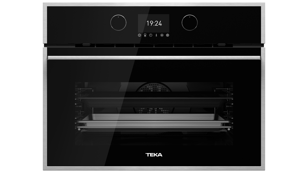 View 1 of Combi HLC 847 S Black Glass with StainlessSteel frame by Teka