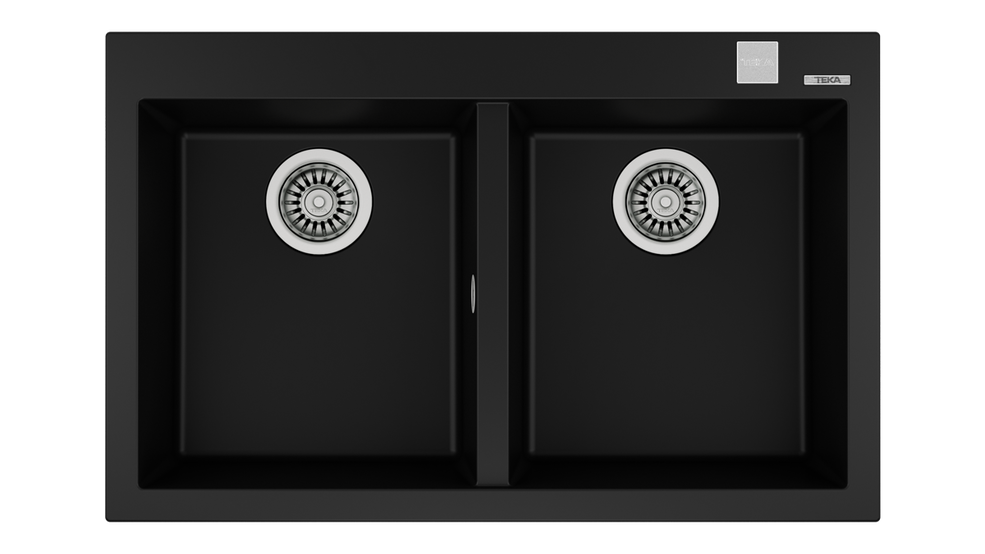 View 1 of sink FORSQUARE 2B 790 TG AUTO Black by Teka
