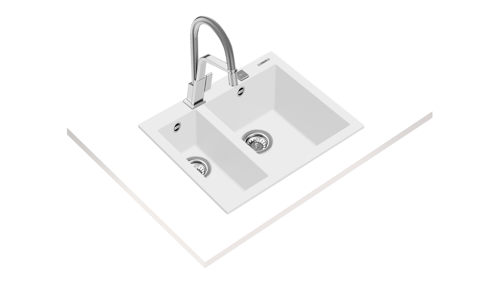 View 1 of sink FORSQUARE 2B 590 TG AUTO Artic White by Teka