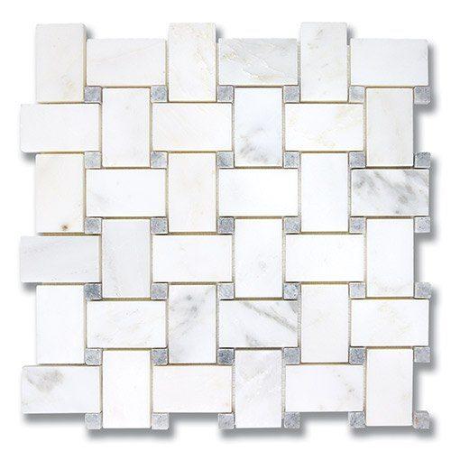 Basket Weave Carrara Bella P Pearl Gray Dots P Products - Carrara basketweave tile gray dot