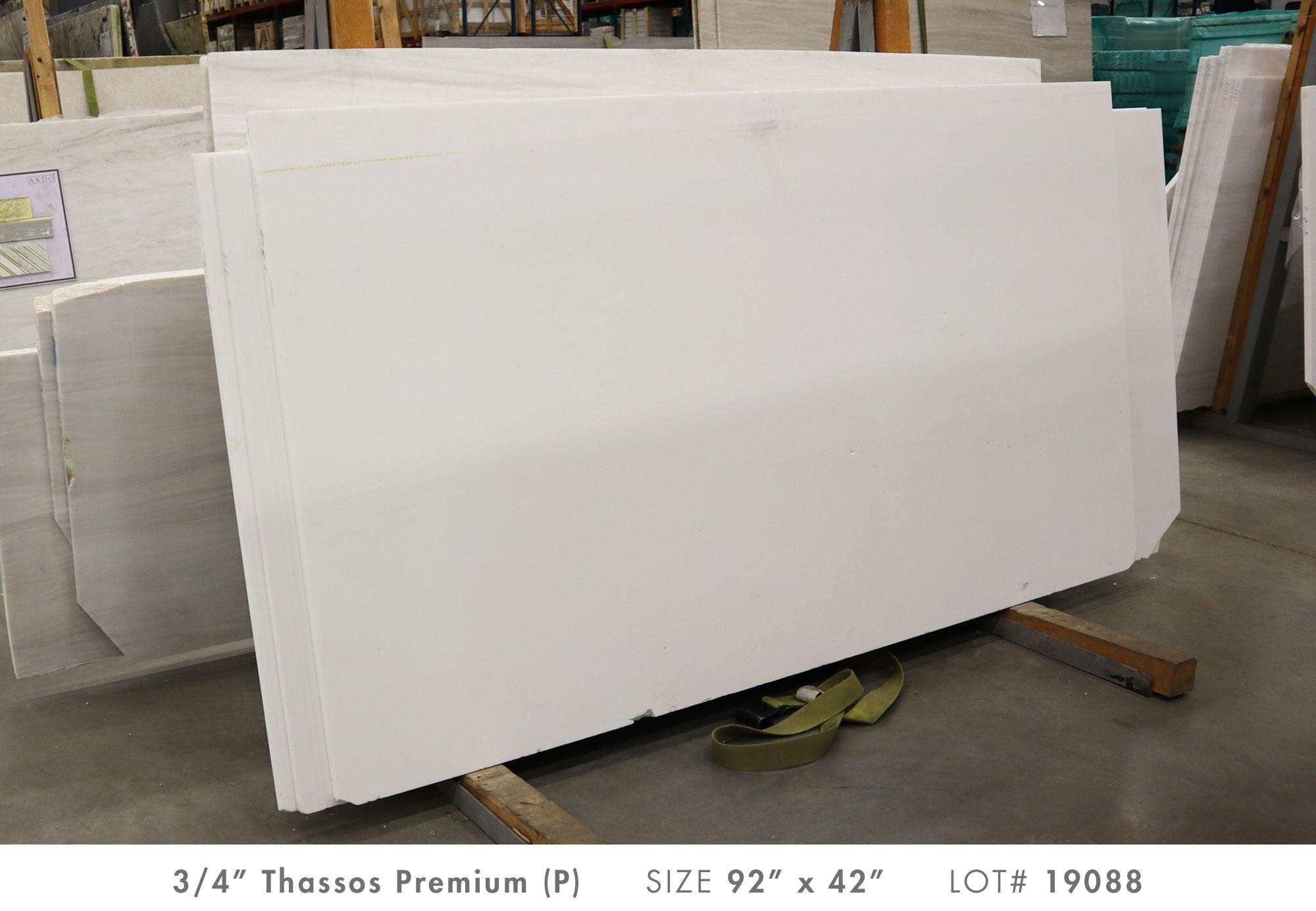 Thassos Premium (P) 3/4'' Size: 105'' x 40'' Lot: 20070
