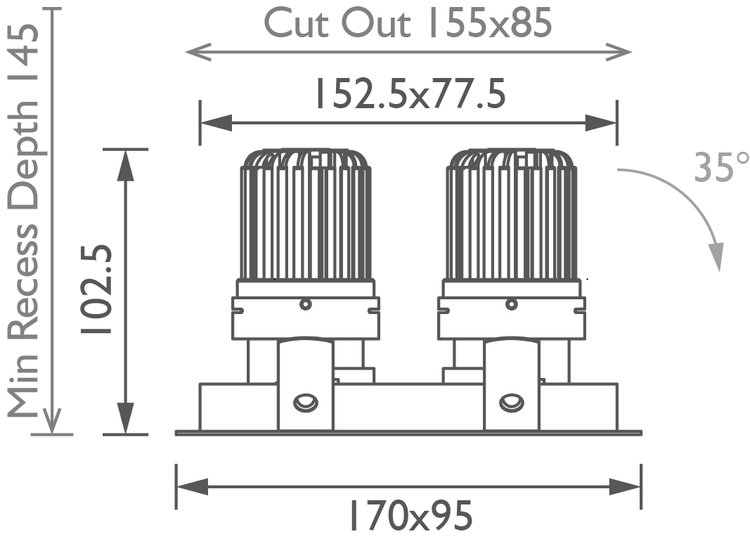 Square Double 50+ Downlight technical image