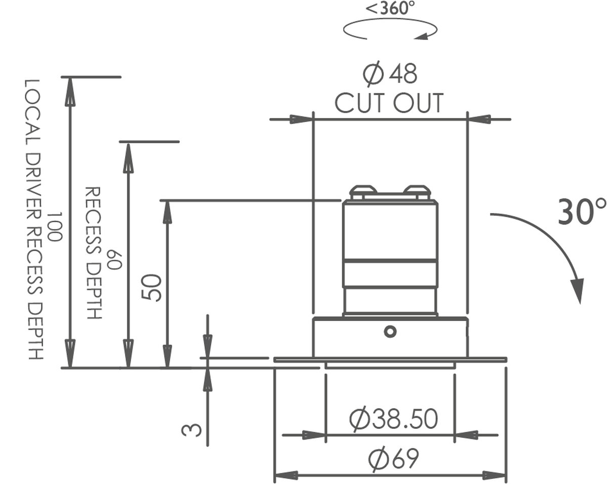 Polespring 30 Trimless Tilt Downlight technical image