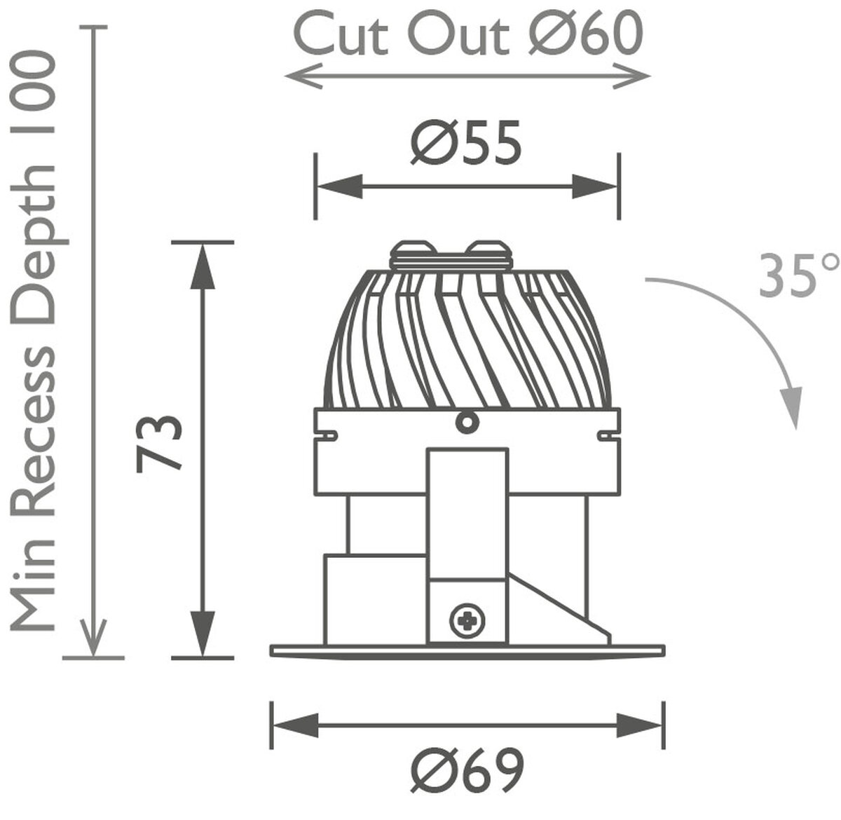Polespring 50 Downlight technical image