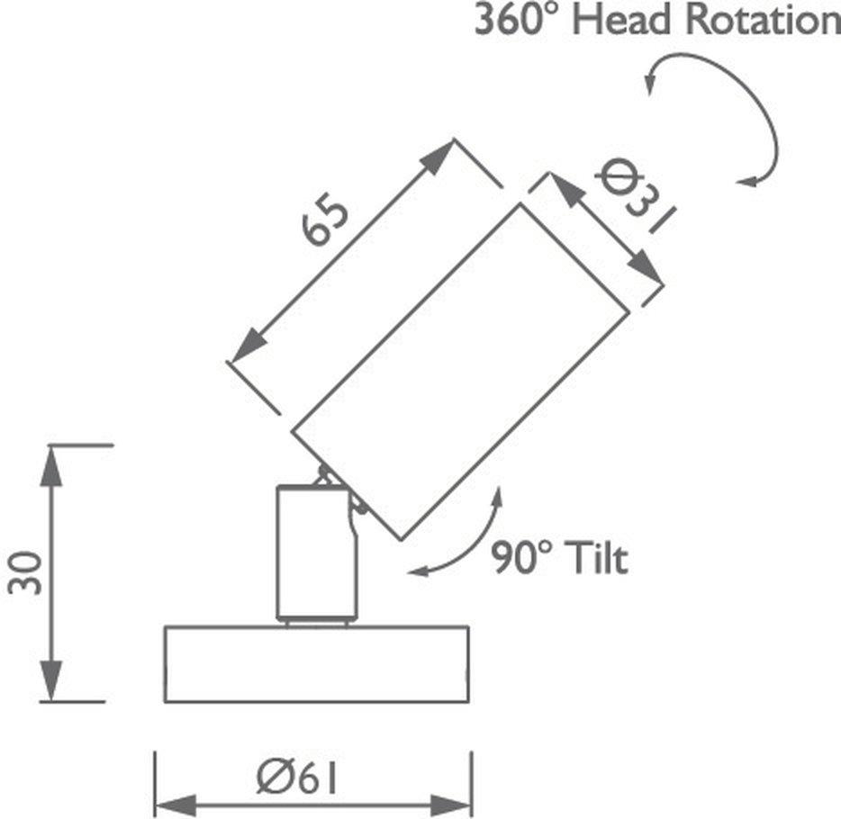 Syon Miniature Interior/Exterior Spotlight technical image
