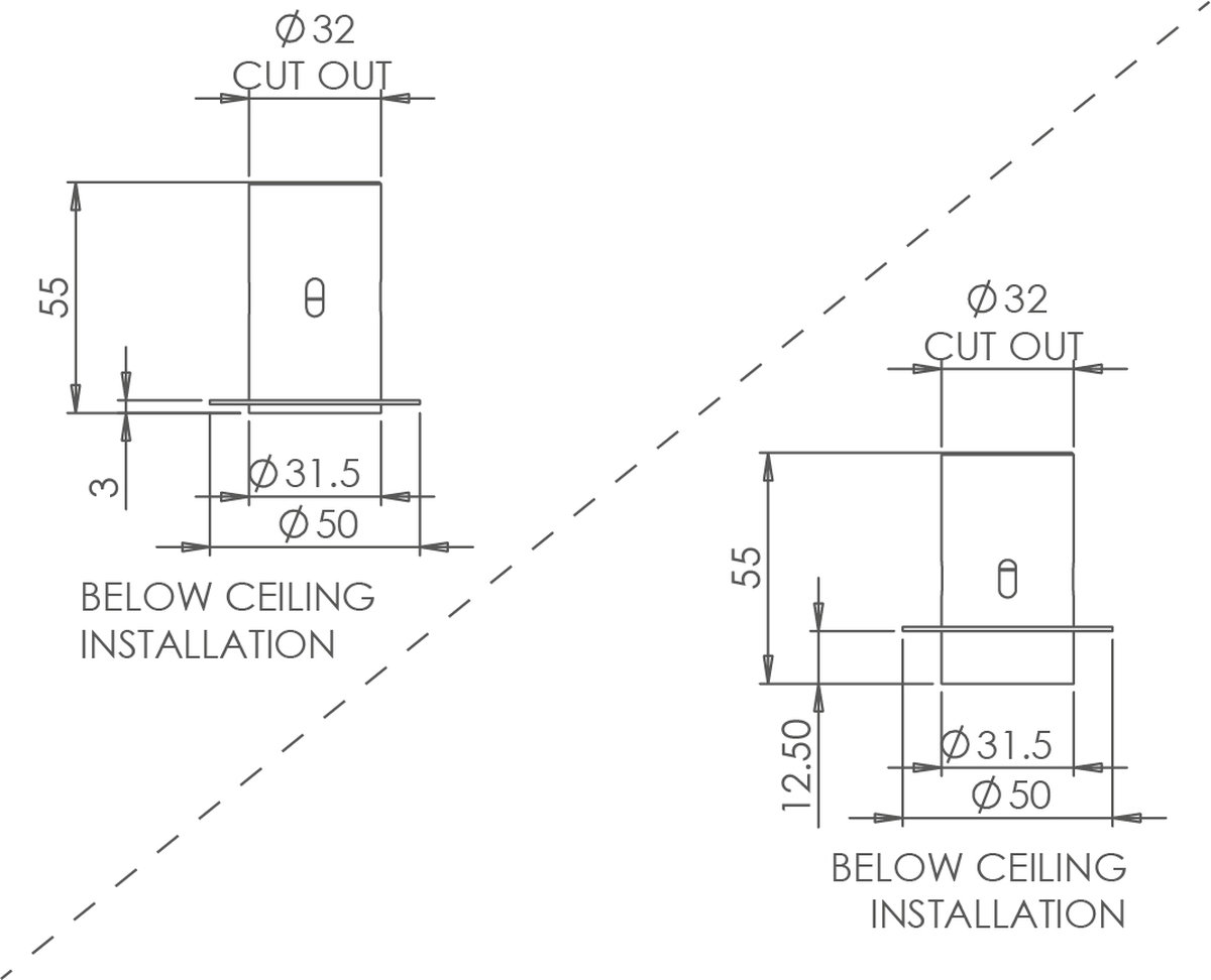 Polespring 30 Trimless Fixed Downlight technical image