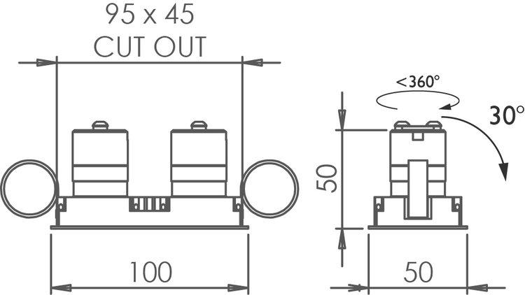 Square Double Trim 30 Downlight technical image