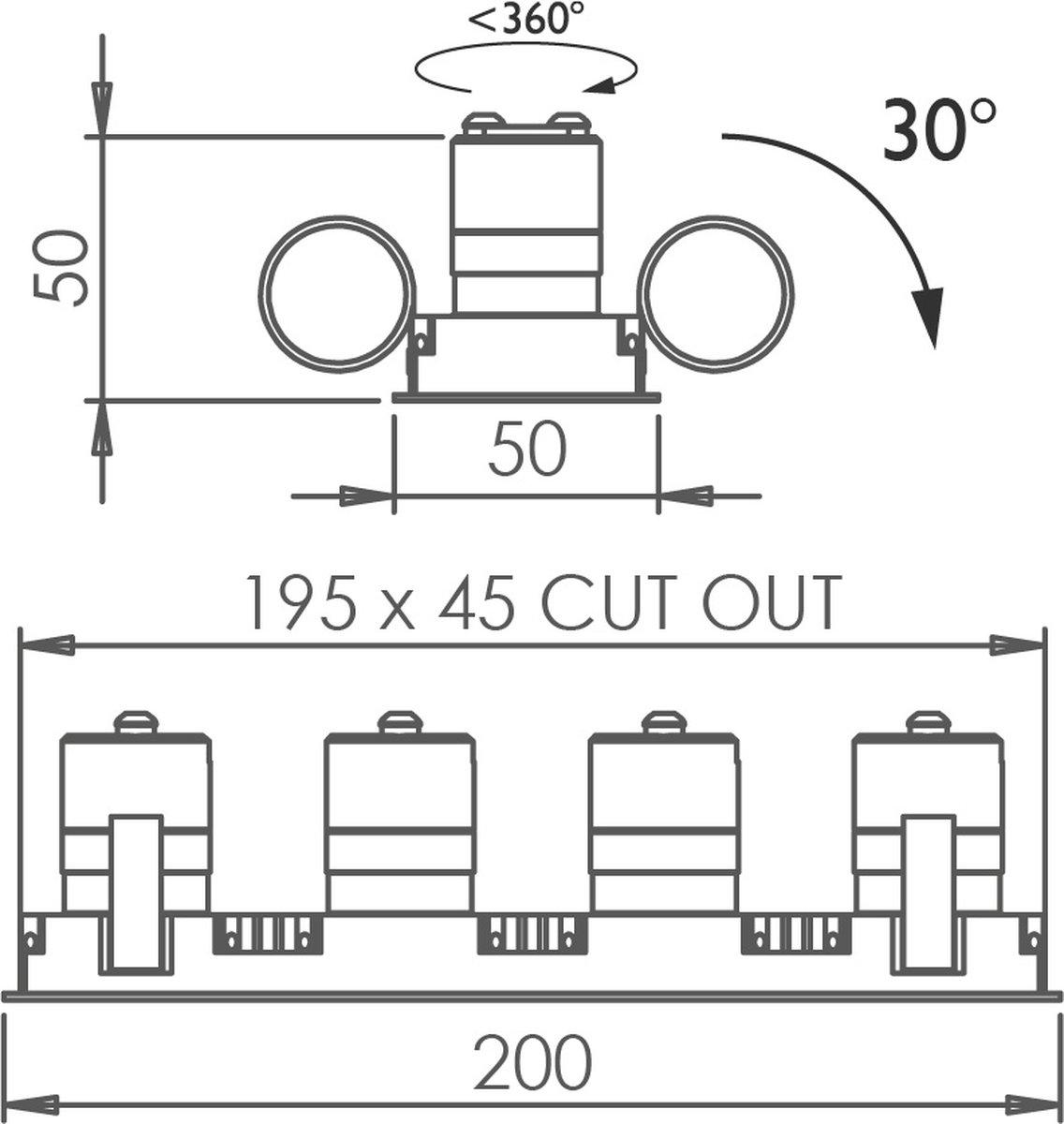 Square Quad Trim 30 Downlight technical image