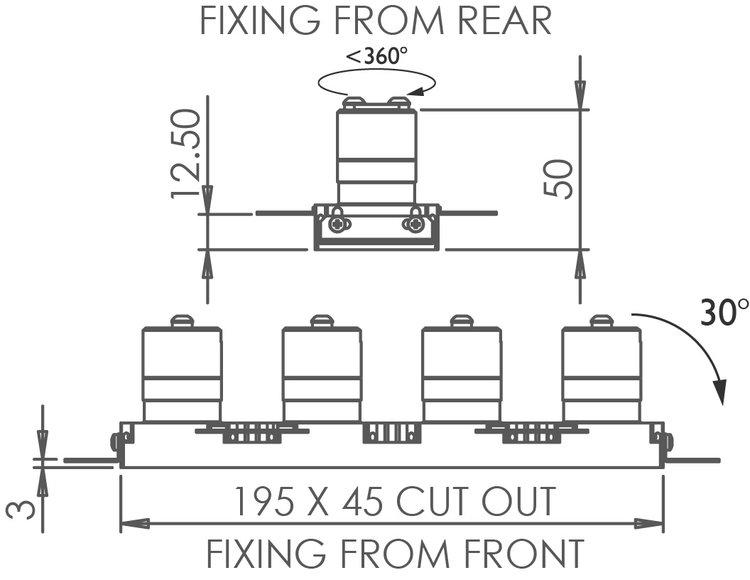 Square Quad Trimless 30 Downlight technical image
