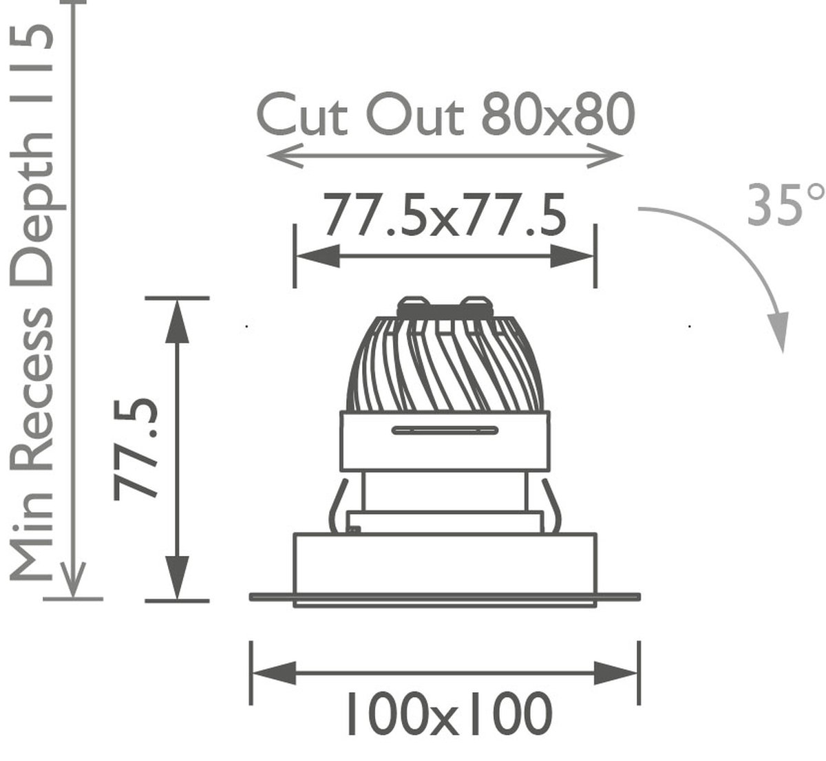 Square 50 Trimless Downlight technical image