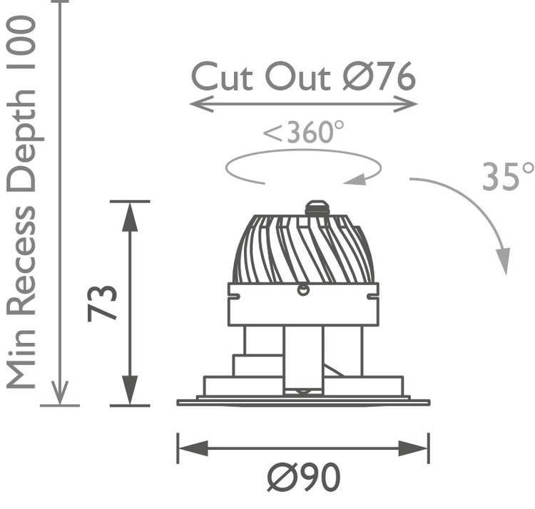 Polespring 50 360 Downlight technical image
