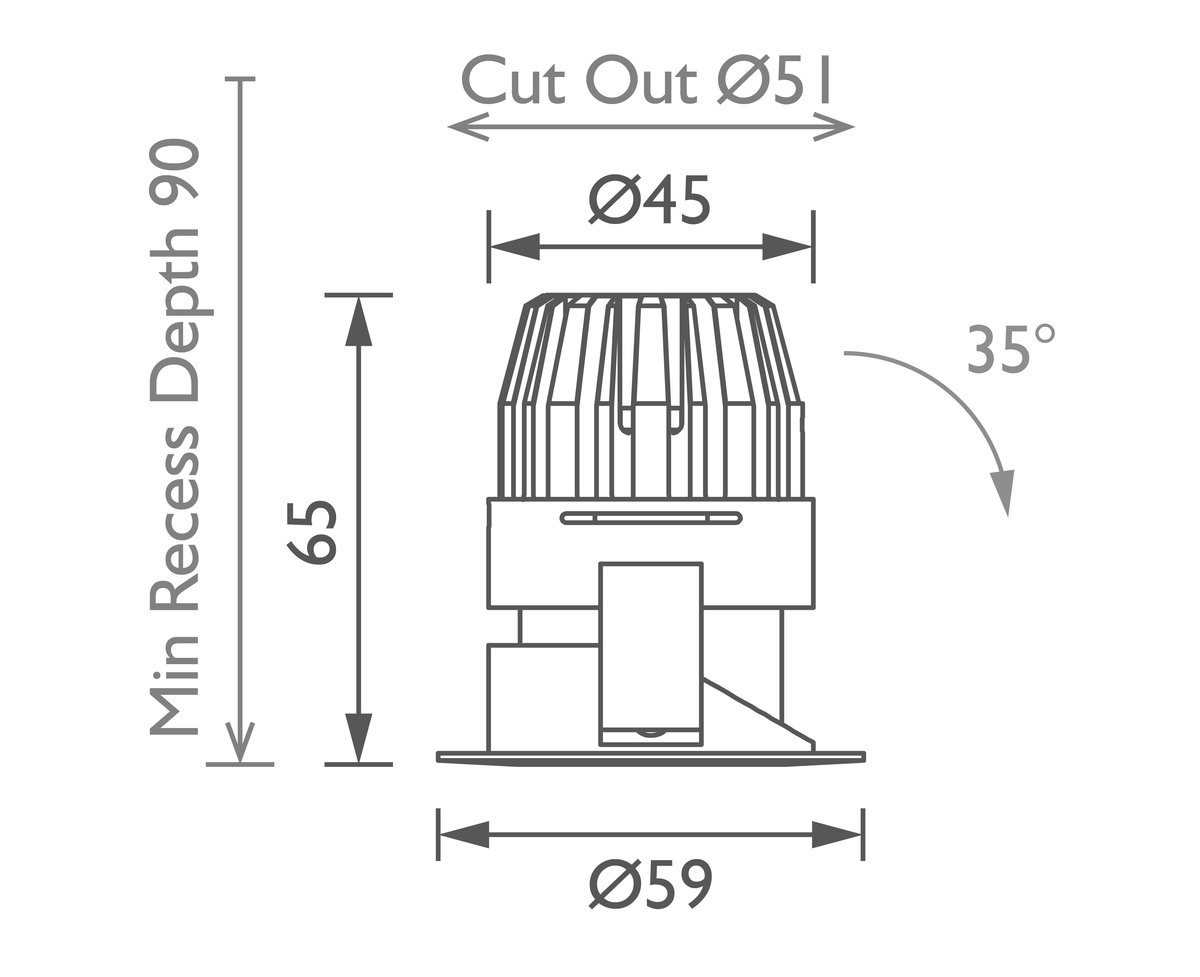 Polespring 40 Downlight technical image