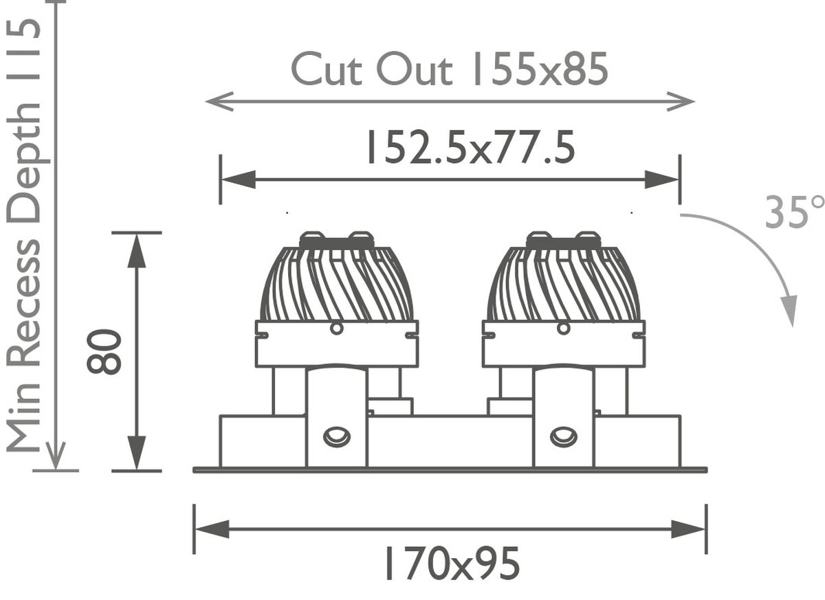 Square Double 50 Trim Downlight technical image