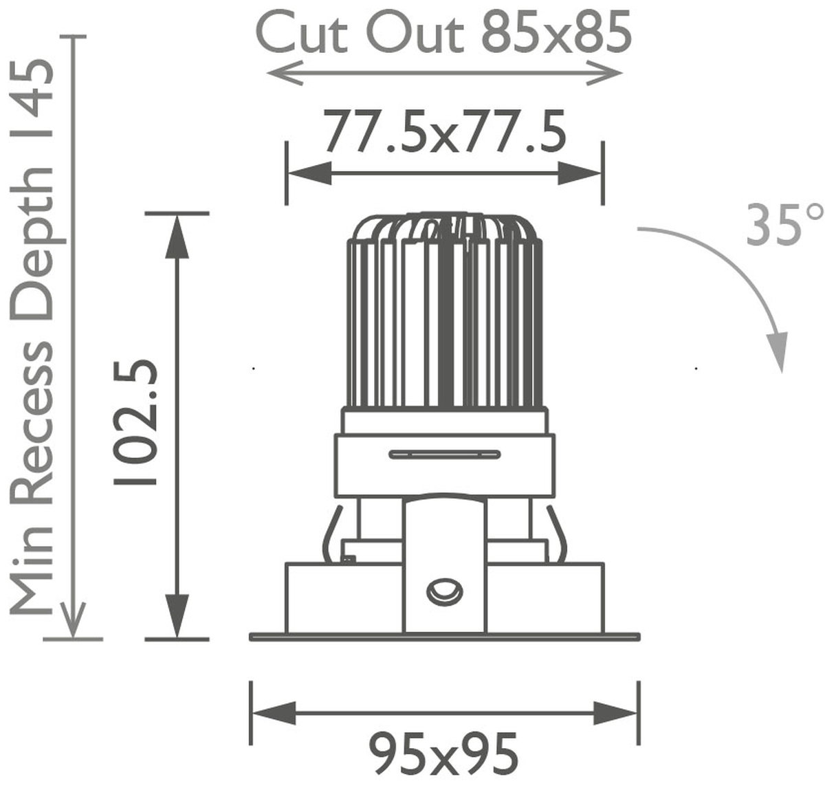 Square 50+ Downlight technical image