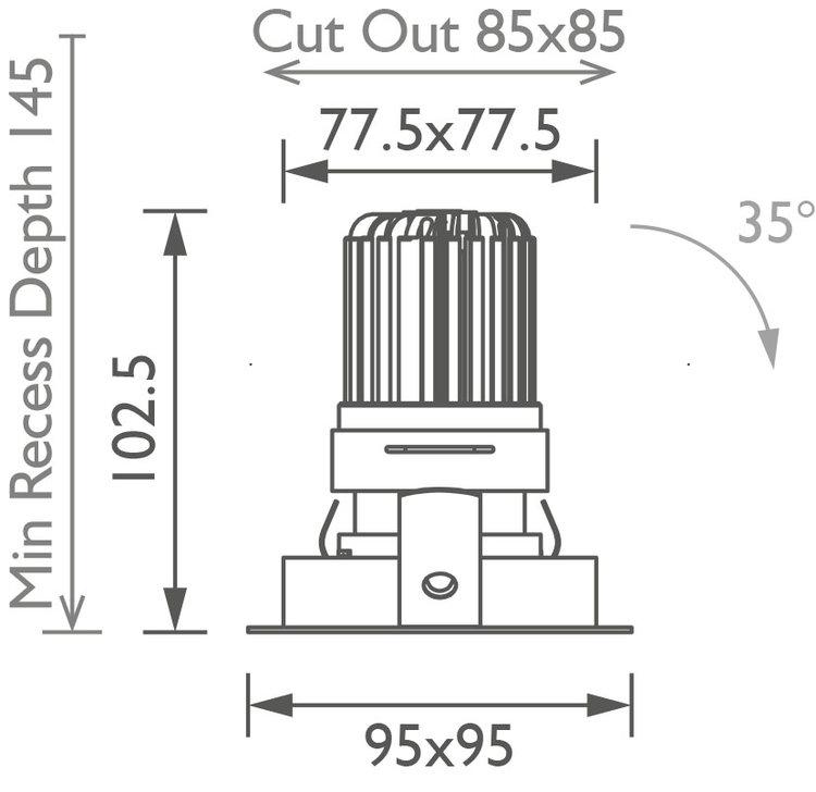 Square 50+ Trim Downlight technical image
