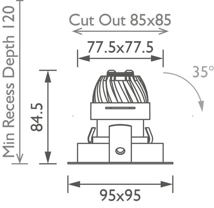 Square 50 Trim IP Downlight technical image