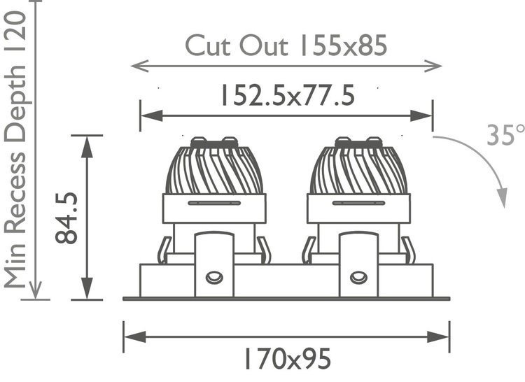 Square Double 50 IP Downlight technical image