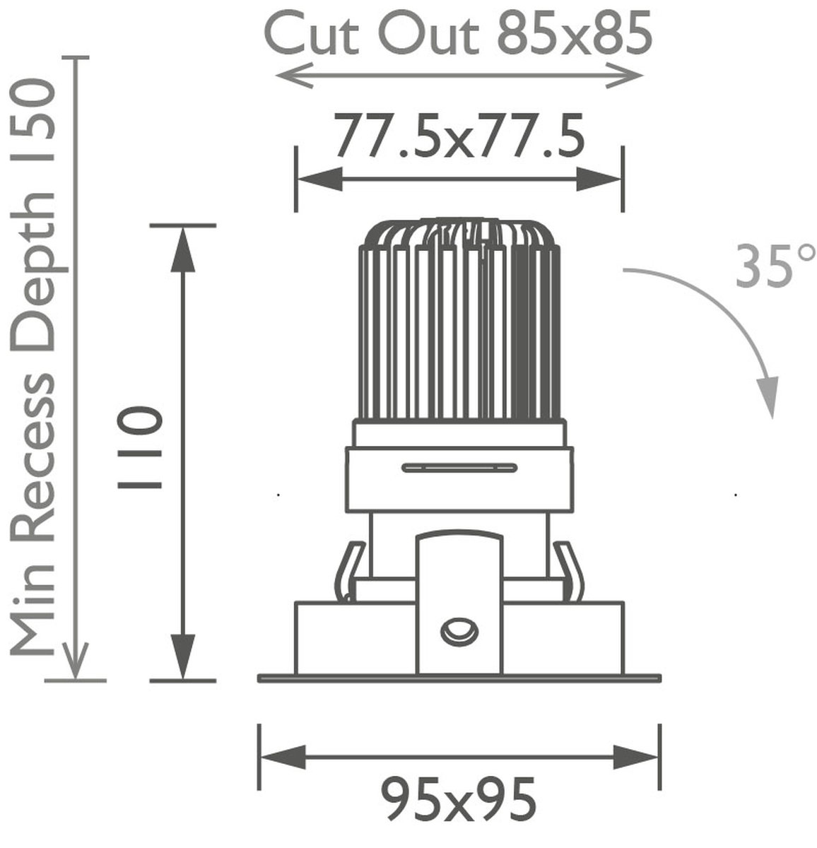 Square 50+ Trim IP Downlight technical image