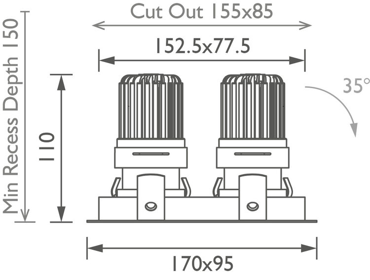 Square Double 50+ Trim IP Downlight technical image