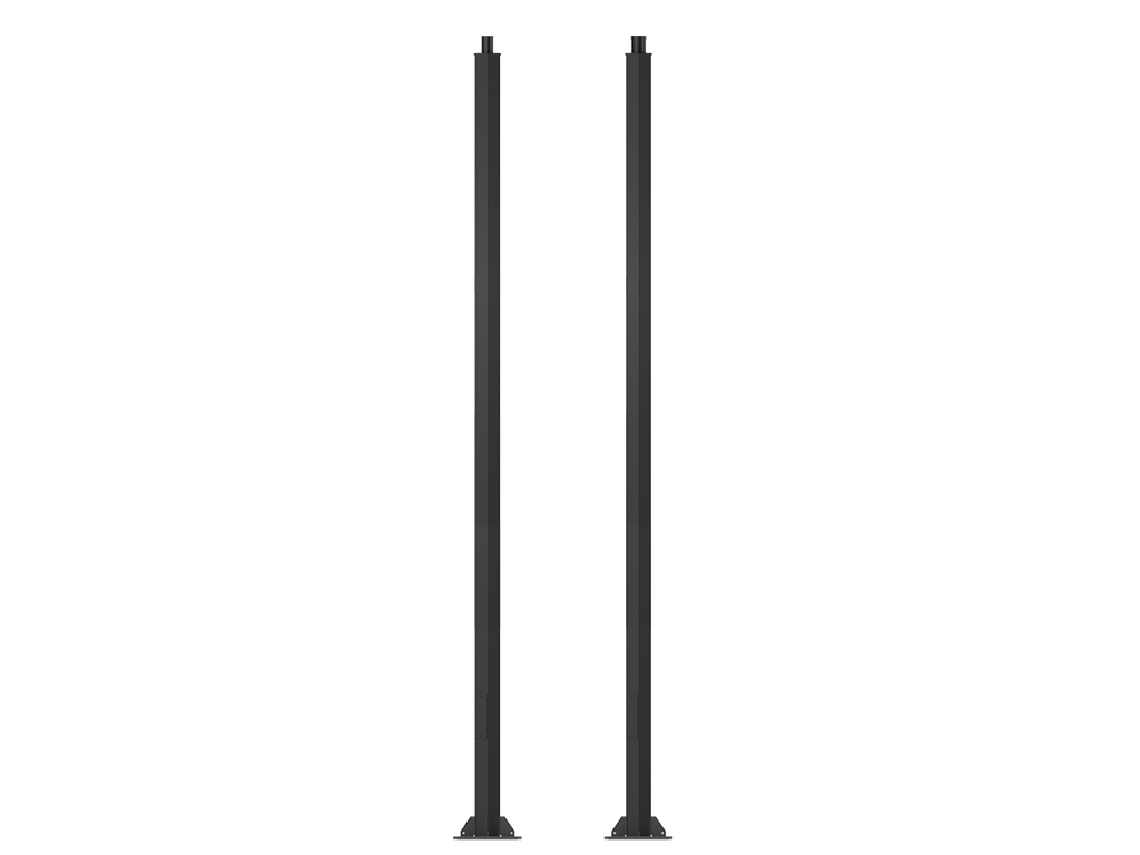 Square, straight aluminium lighting poles