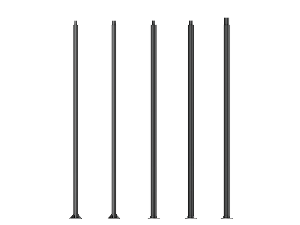 Cylindrical, straight aluminium lighting poles