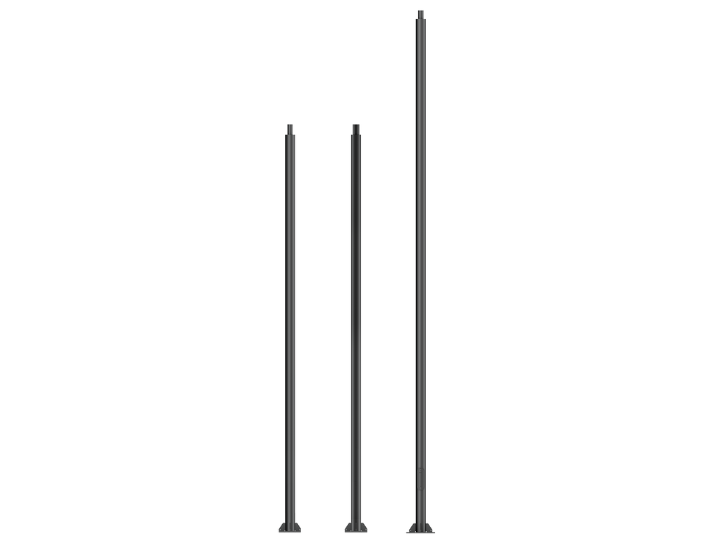 Cylindrical, straight galvanised steel lighting poles