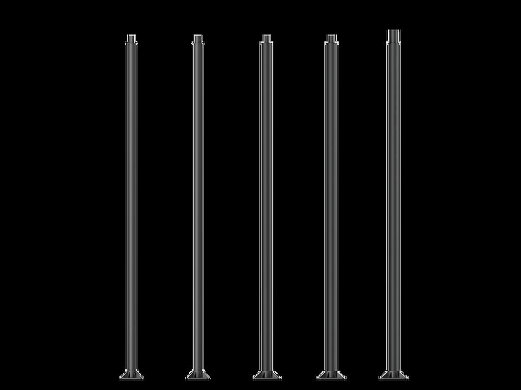 Mâts d'éclairage cylindriques droits en aluminium