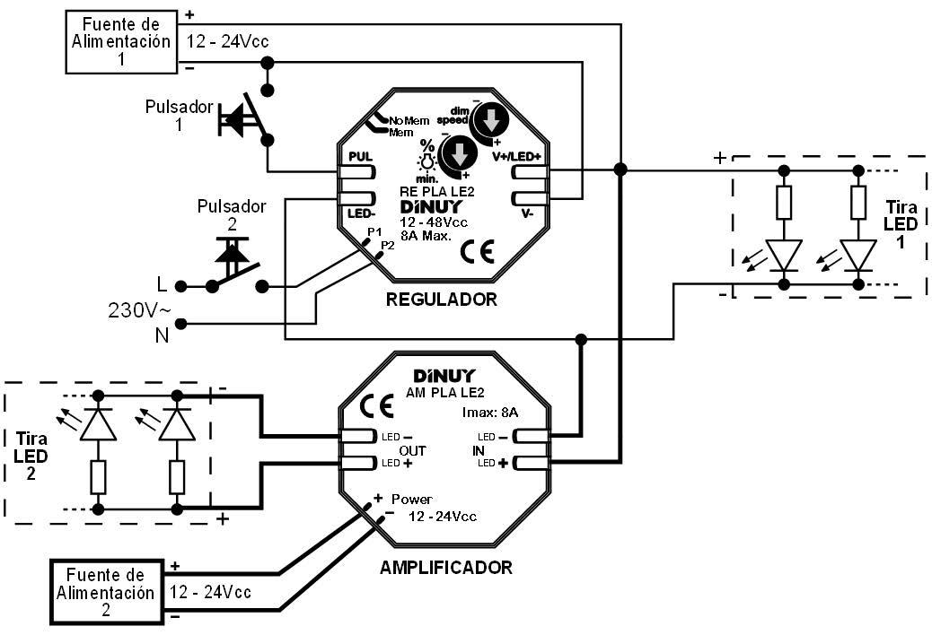 AMPLIFICADOR PARA TIRAS LED 12-48Vcc – AM PLA LE2 - Esquema de instalación - Dinuy