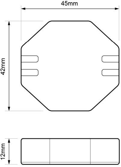 AMPLIFICADOR PARA TIRAS LED 12-48Vcc – AM PLA LE2 - Dimensiones - Dinuy