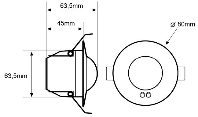 2-CHANNEL FLUSH CEILING-MOUNTED MOTION DETECTOR – DM TEC 002 - Dimensions - Dinuy
