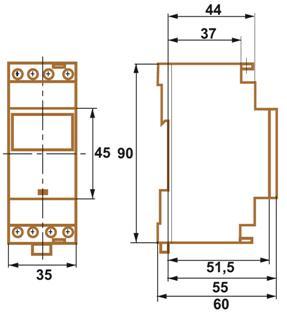 INTERRUPTOR HORARIO SEMANAL DE 2 CANALES NFC – IH TER MC2 - Dimensiones - Dinuy