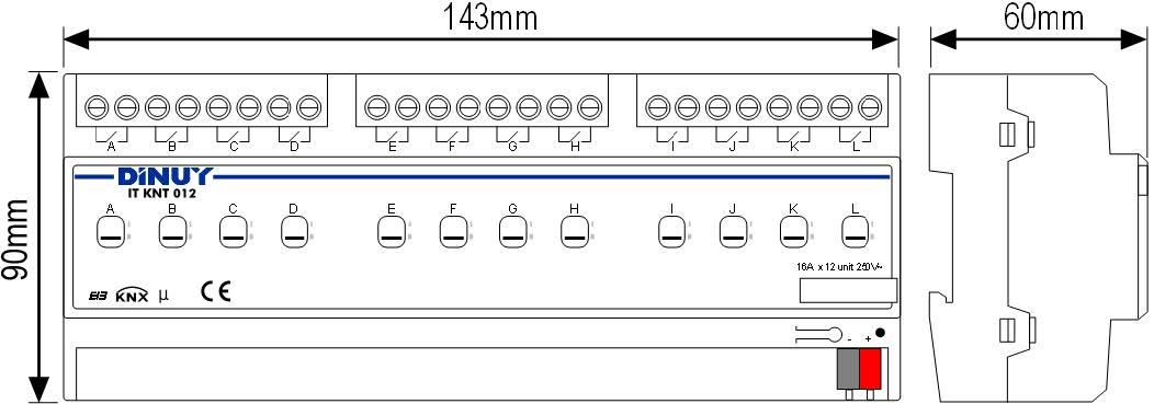 ACTUADOR CONMUTACIÓN 12 CANALES – IT KNT 012 - Dimensiones - Dinuy