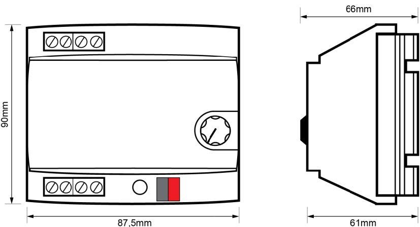 ACTUADOR DE REGULACIÓN RLC+LED DE 1 CANAL – RE KNT 000 - Dimensiones - Dinuy