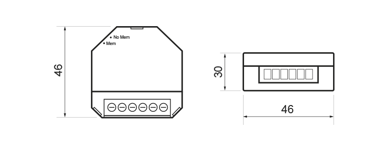 DIMMER FOR LED LAMPS – RE KNX LE1 - Dimensions - Dinuy