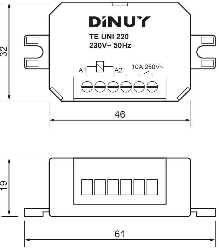 MICROTELERRUPTORES – TE UNI 220 - Dimensiones - Dinuy