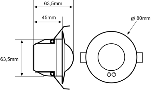 FLUSH-CEILING MOUNTED MOTION DETECTOR WITH SLAVES – DM TEC 004 - Dimensions - Dinuy