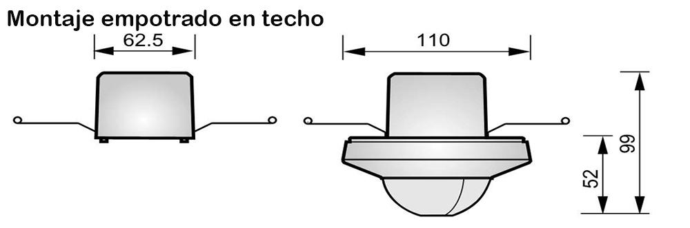 DETECTOR DE MOVIMIENTO DE TECHO GRAN COBERTURA – DM TEC 300 - Dimensiones - Dinuy