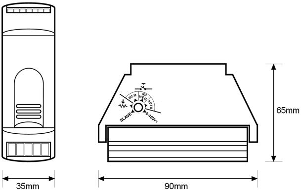 SINGLE COLOR LED STRIP DIMMER – RE EL2 LE2 - Dimensions - Dinuy