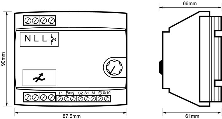 REGULADOR MODULAR PARA EQUIPOS 1-10Vcc – RE EL5 002 - Dimensiones - Dinuy