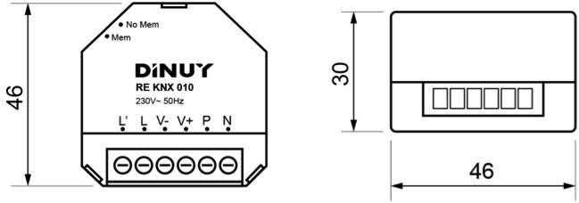 REGULADOR INALÁMBRICO PARA EQUIPOS 1-10V – RE KNX 010 - Dimensiones - Dinuy
