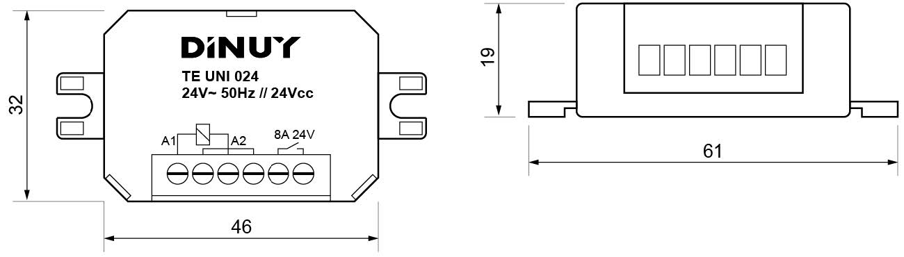 MICROTELERRUPTORES – TE UNI 024 - Dimensiones - Dinuy