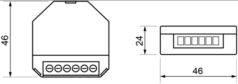 ACTUADOR DE REGULACIÓN KNX-RF RLC+LED DE 1 CANAL – RE K5X LE1 - Dimensiones - Dinuy